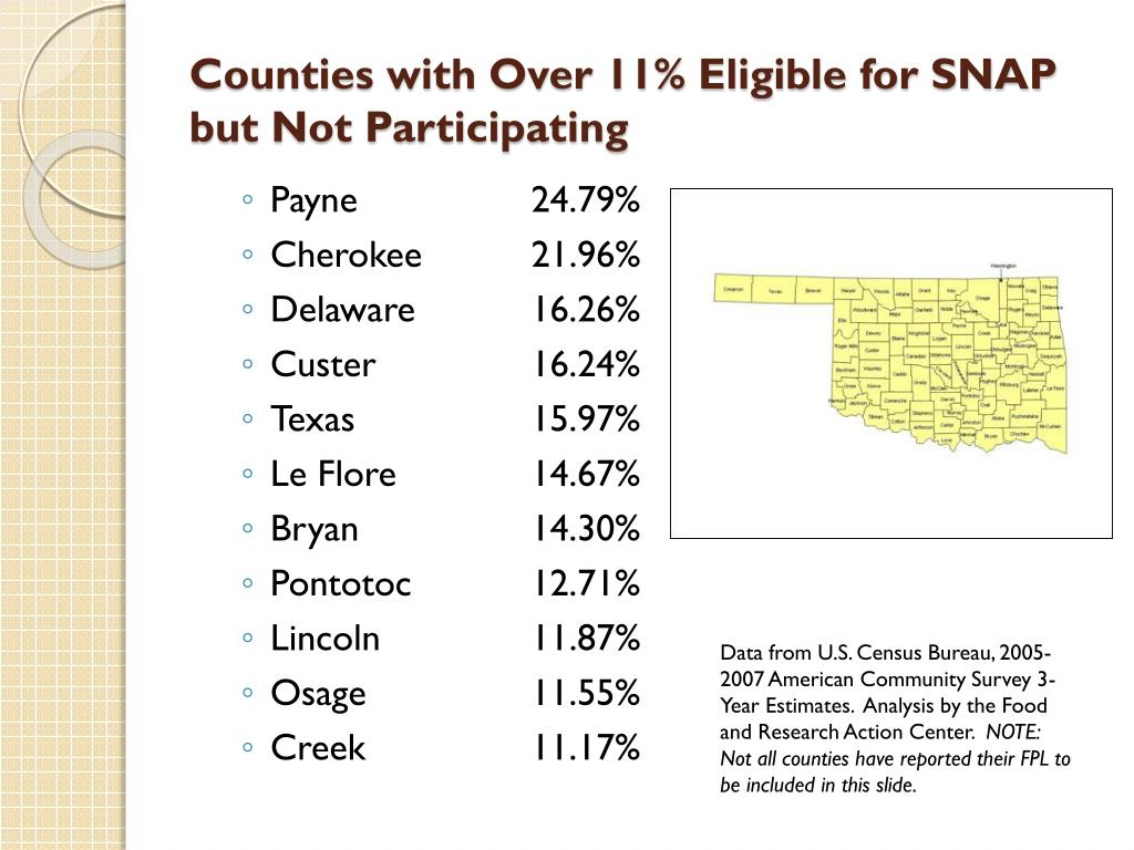 Counties with Over 11% Eligible for SNAP but Not Participating