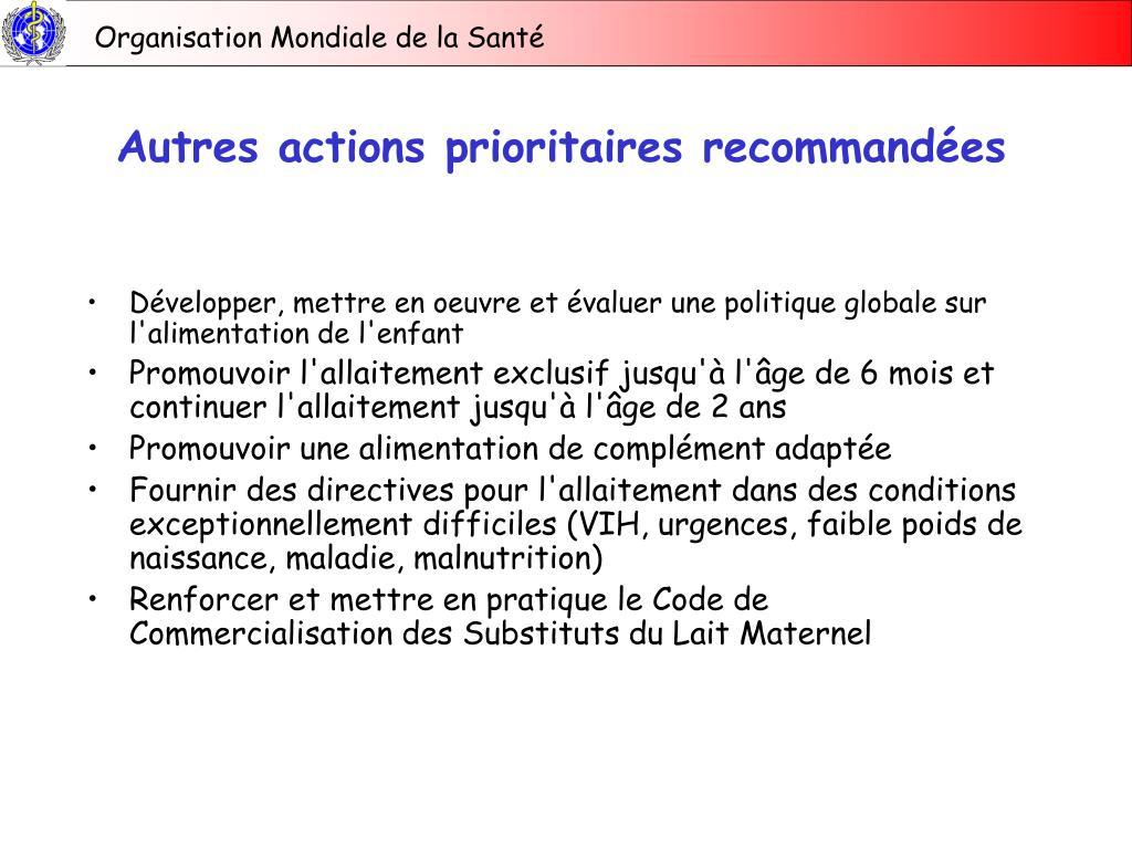 Autres actions prioritaires recommandées