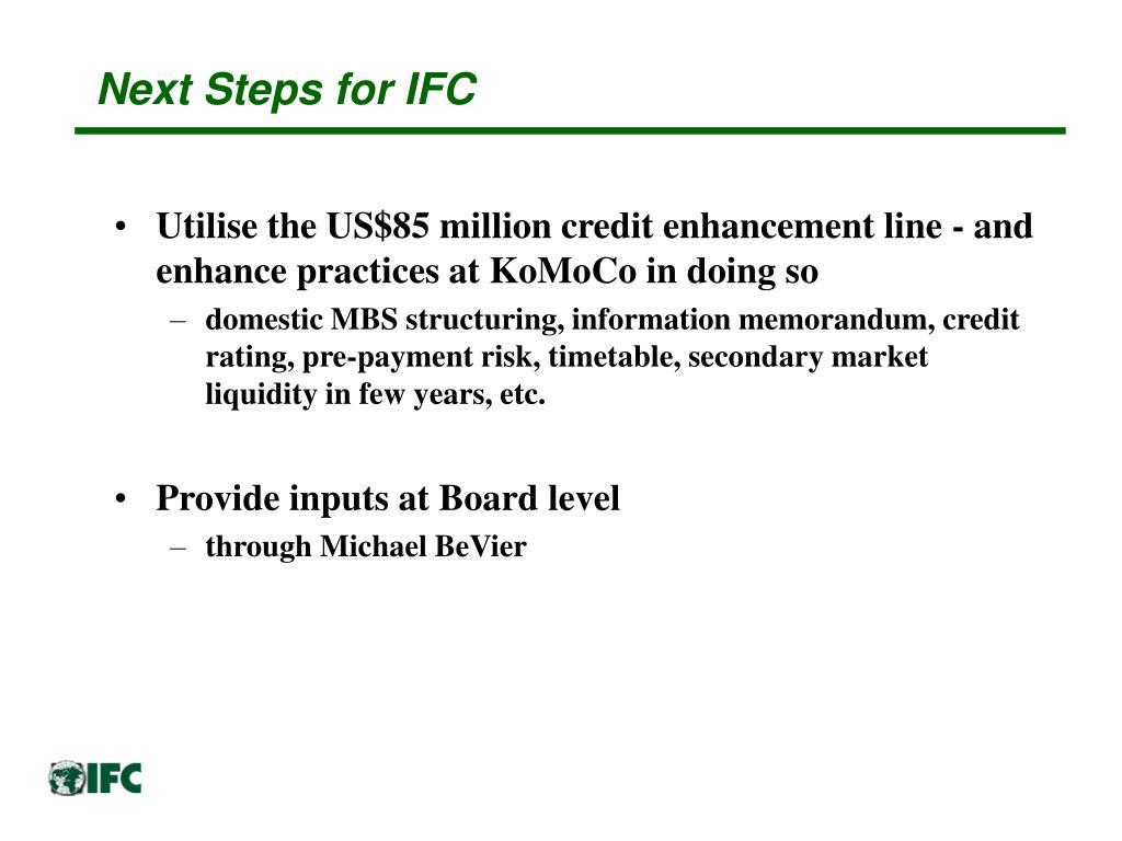 Next Steps for IFC
