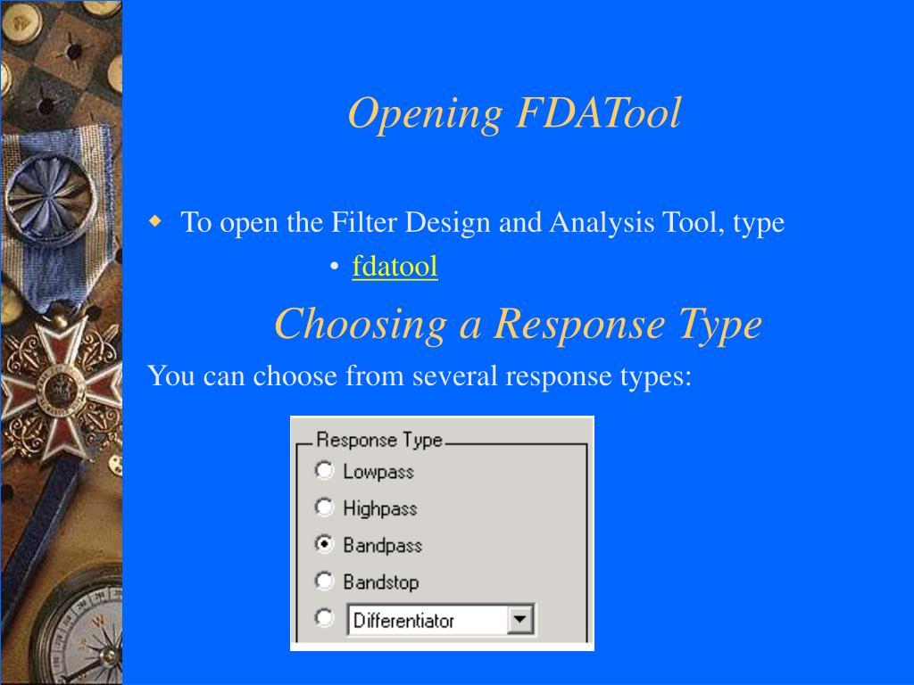 Opening FDATool