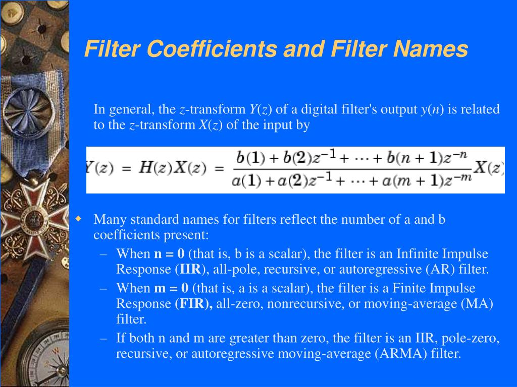 Filter Coefficients and Filter Names