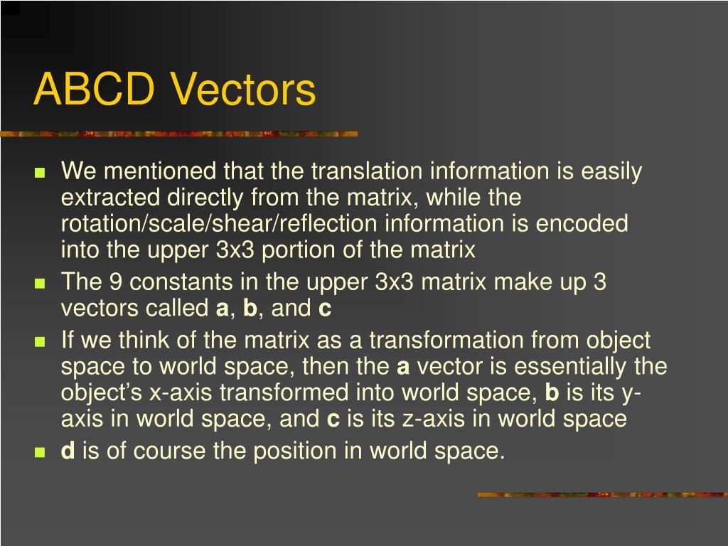 ABCD Vectors