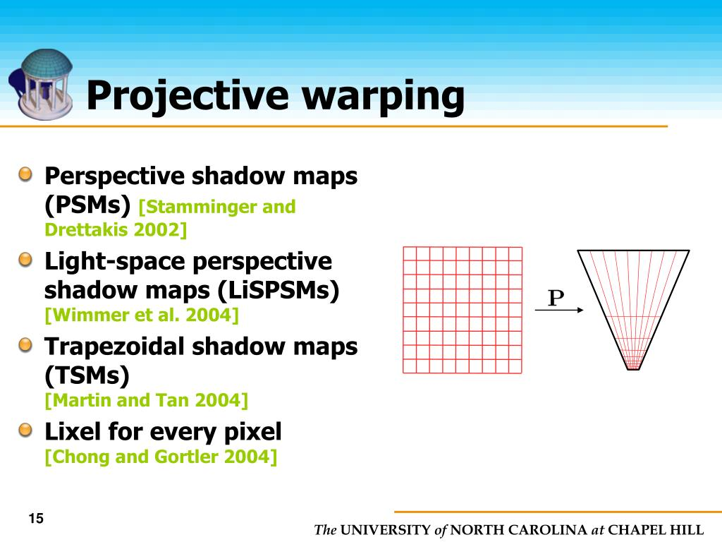 Perspective shadow maps (PSMs)