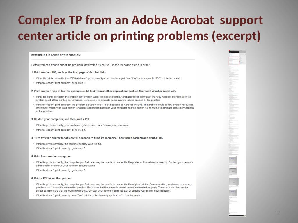 Complex TP from an Adobe Acrobat  support center article on printing problems (excerpt)