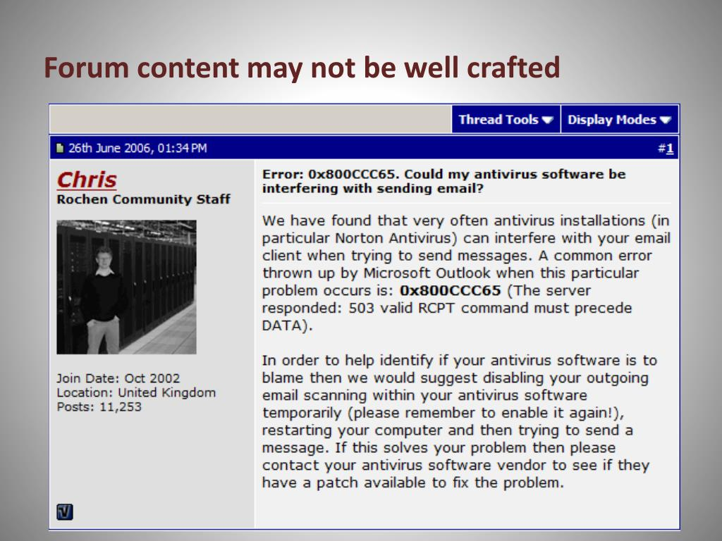 Forum content may not be well crafted
