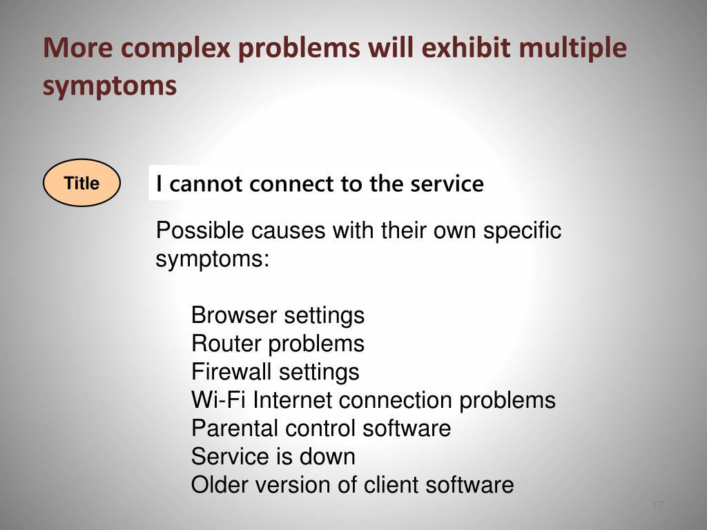 More complex problems will exhibit multiple symptoms