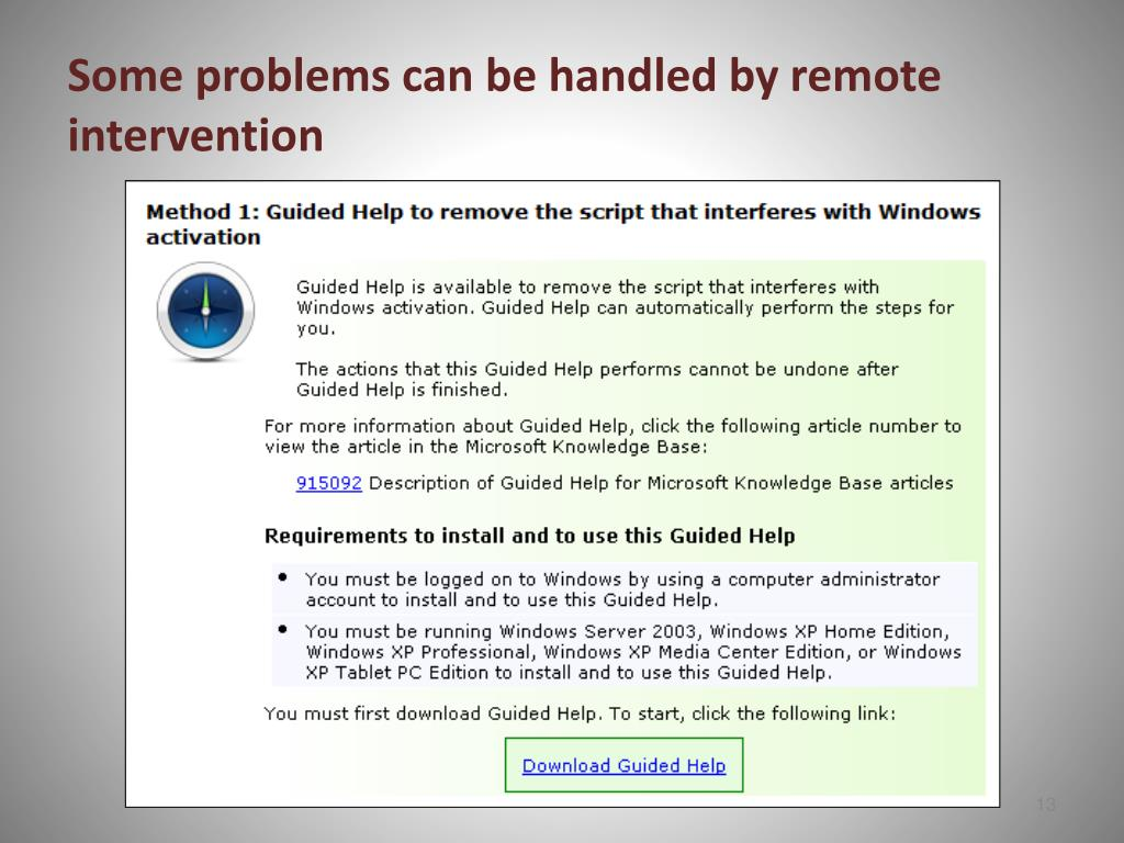Some problems can be handled by remote intervention