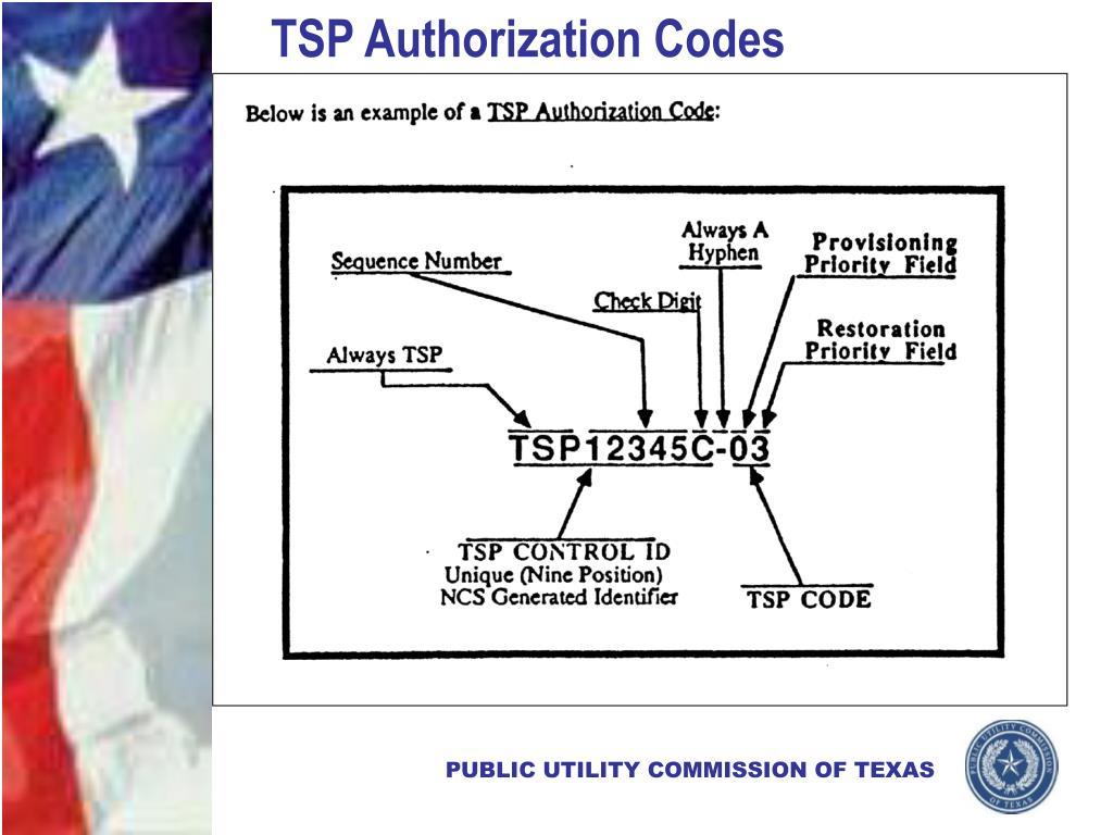 TSP Authorization Codes