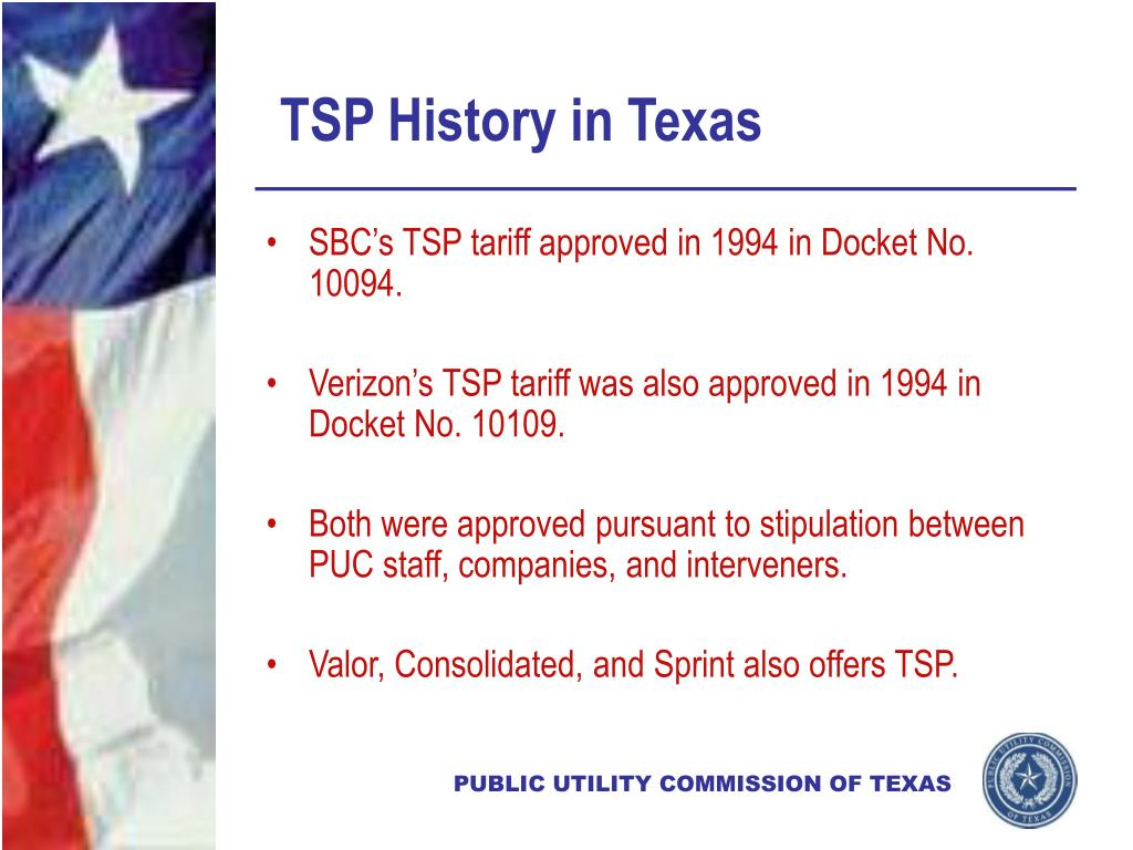 TSP History in Texas