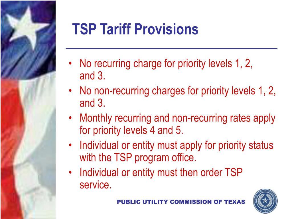 TSP Tariff Provisions