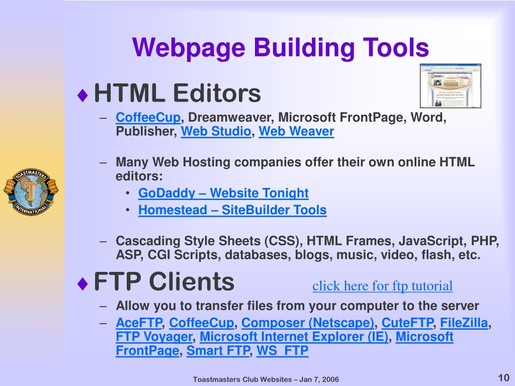 Webpage Building Tools