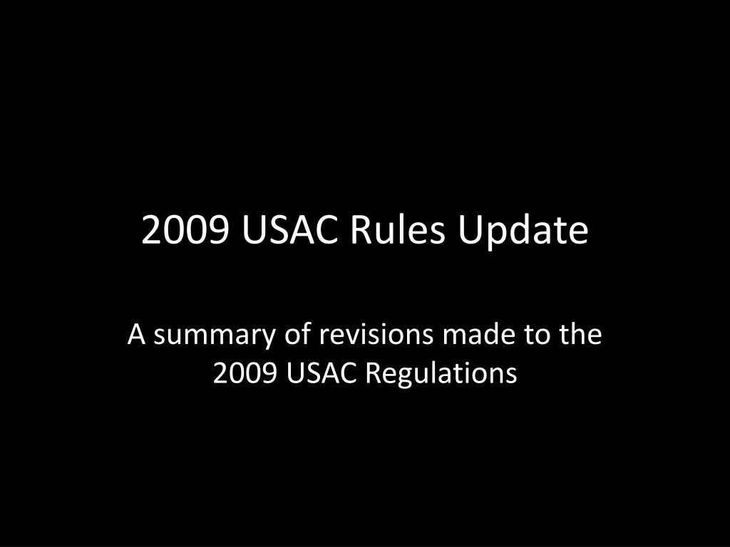 2009 usac rules update
