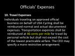 officials expenses