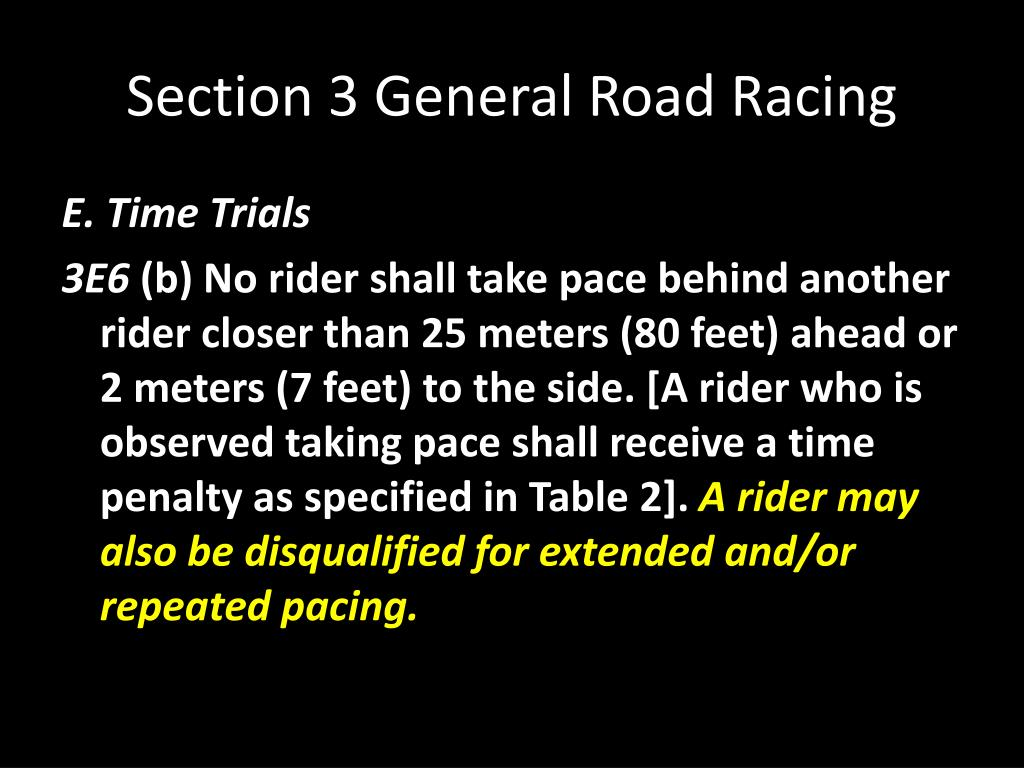 Section 3 General Road Racing