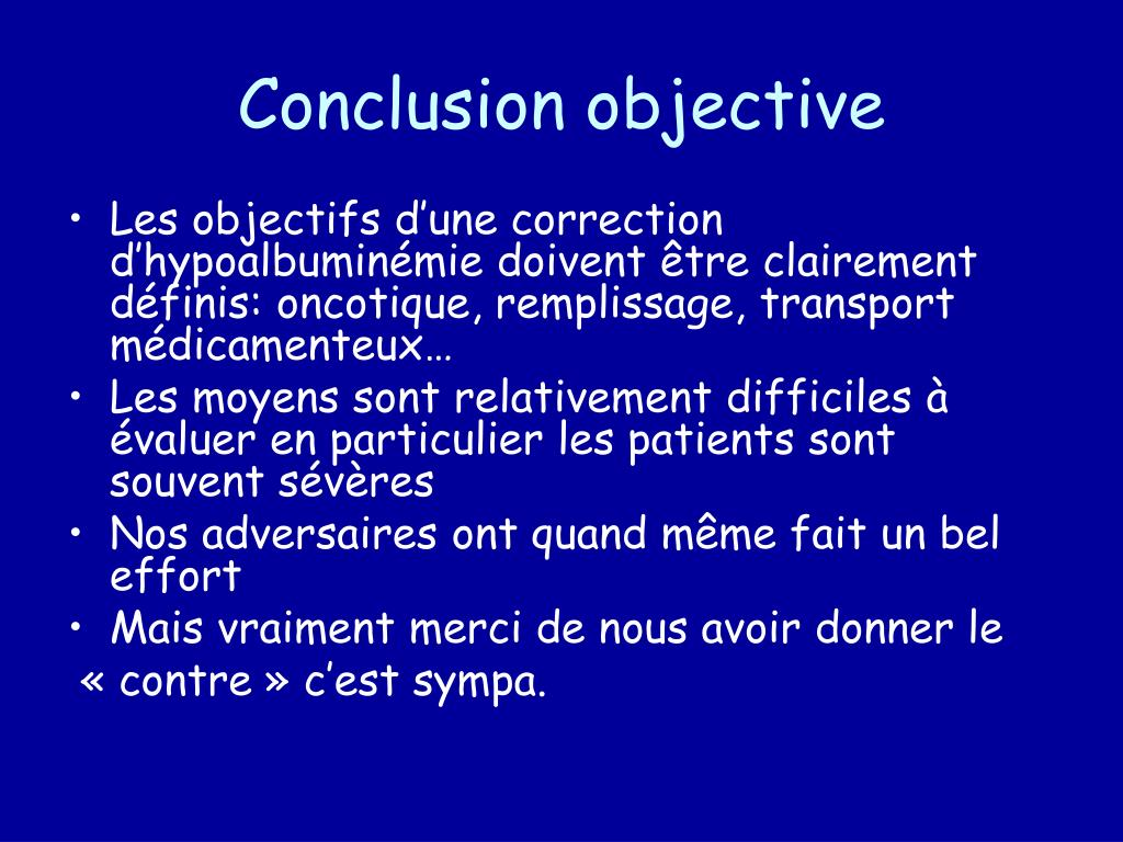Conclusion objective