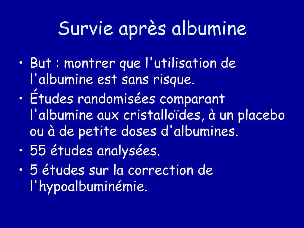 Survie après albumine