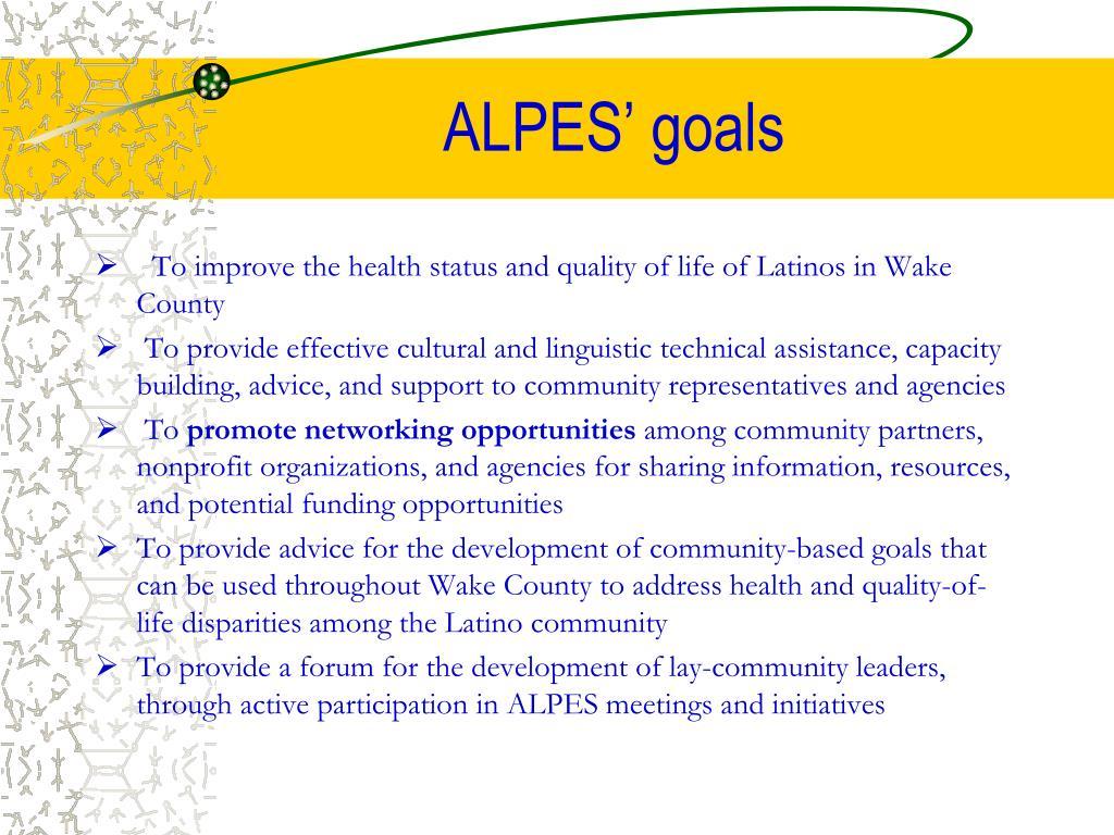 ALPES' goals