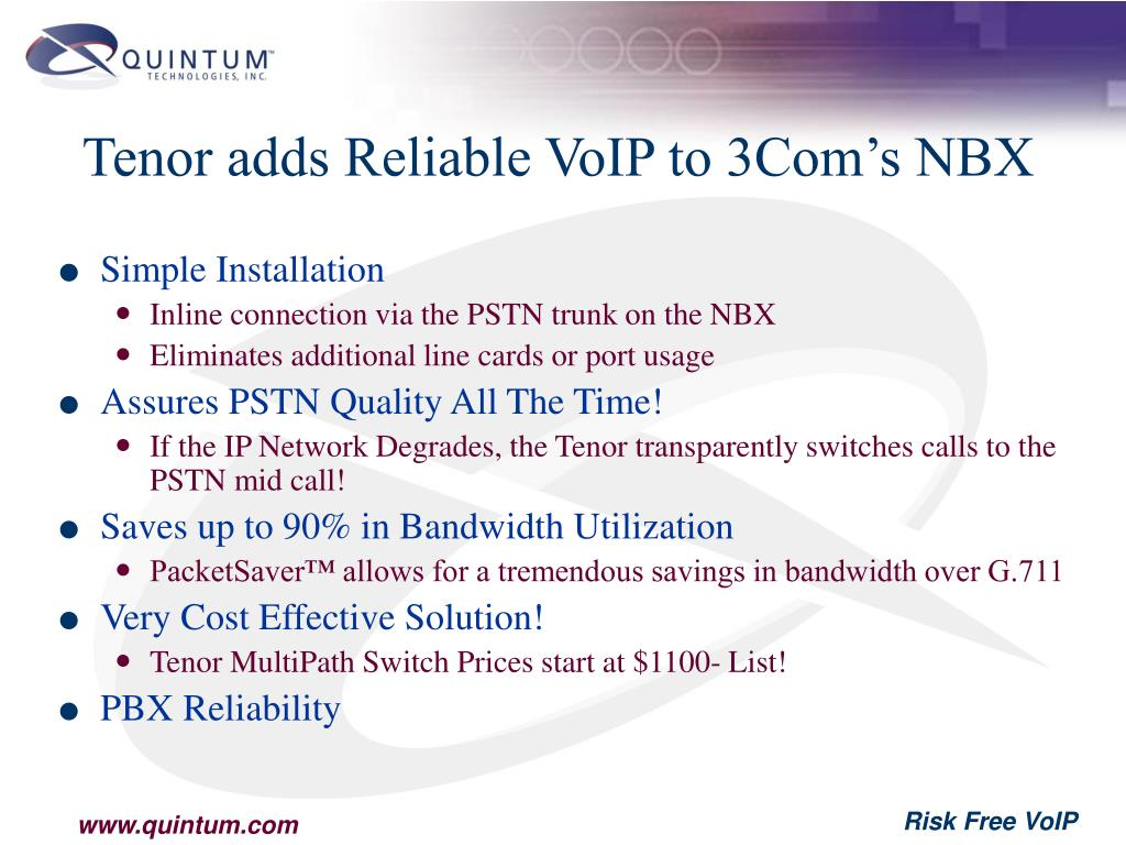 Tenor adds Reliable VoIP to 3Com's NBX