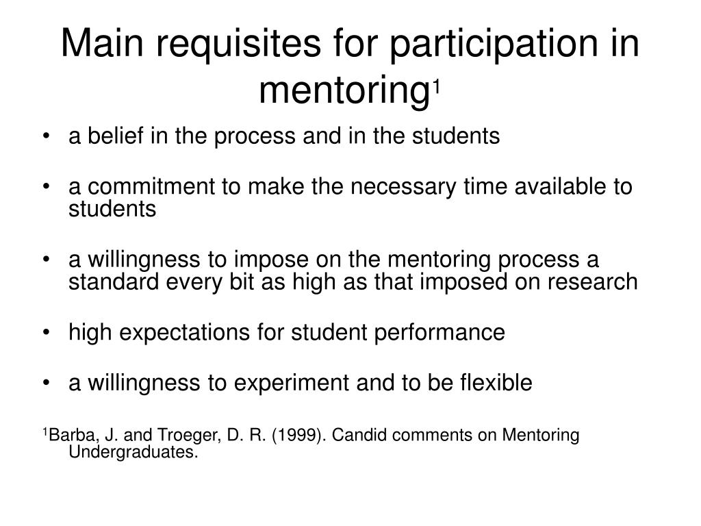 Main requisites for participation in mentoring