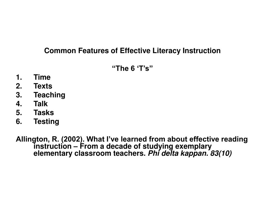 Common Features of Effective Literacy Instruction