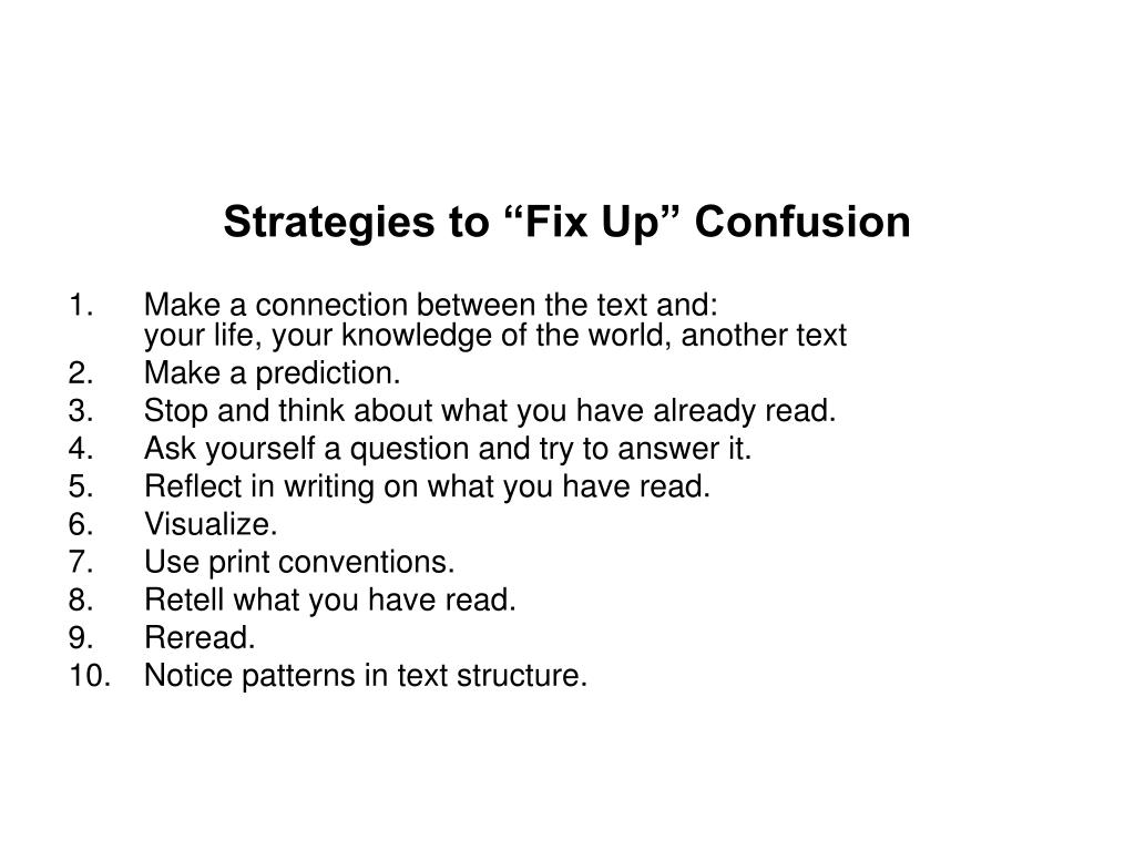 "Strategies to ""Fix Up"" Confusion"