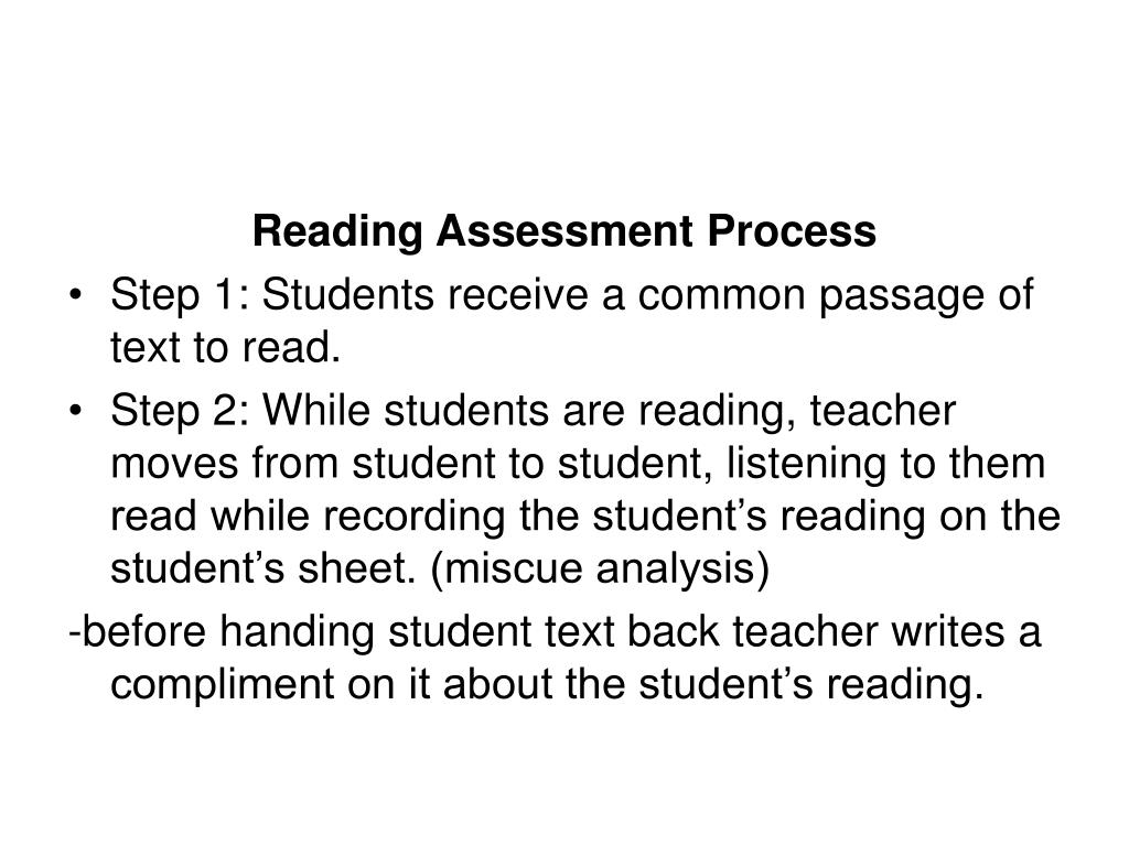 Reading Assessment Process