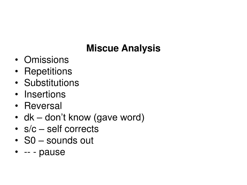 Miscue Analysis