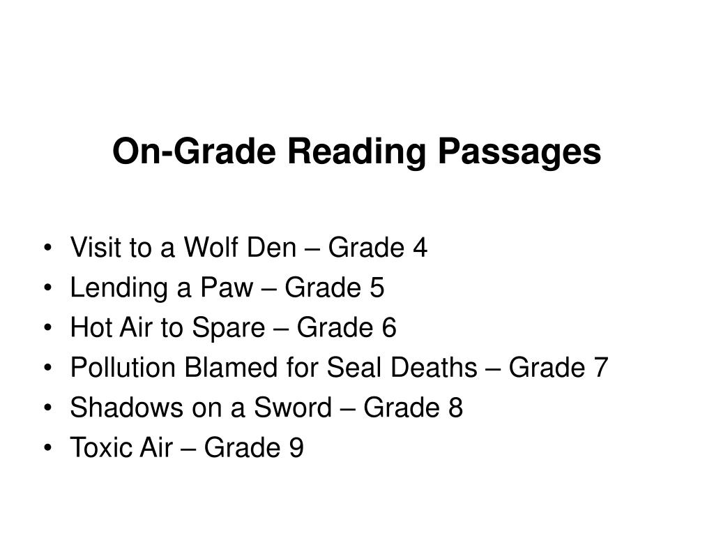 On-Grade Reading Passages