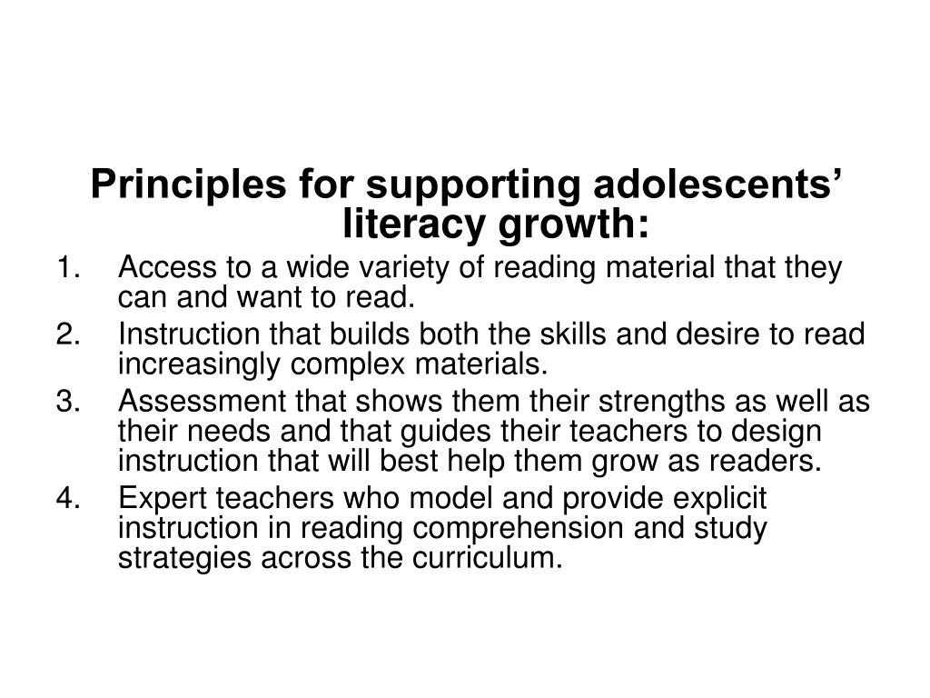 Principles for supporting adolescents' literacy growth: