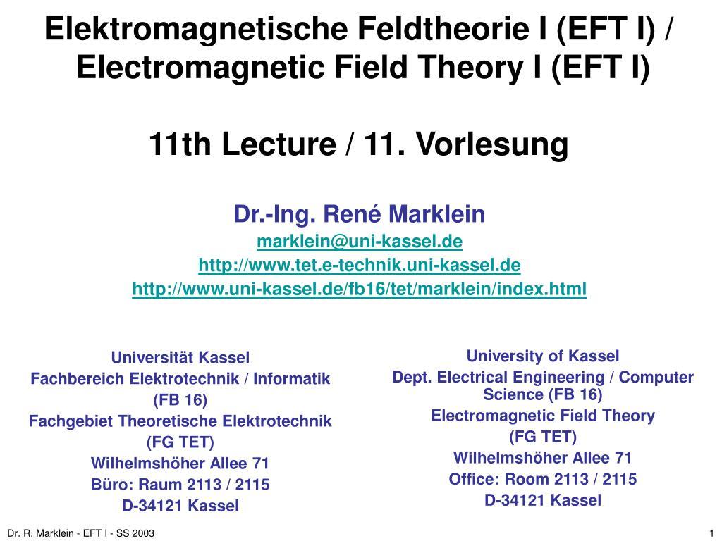 Elektromagnetische Feldtheorie I (