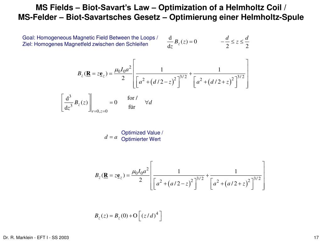 MS Fields – Biot-Savart's Law – Optimization of a Helmholtz Coil