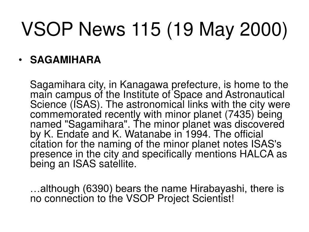 VSOP News 115 (19 May 2000)