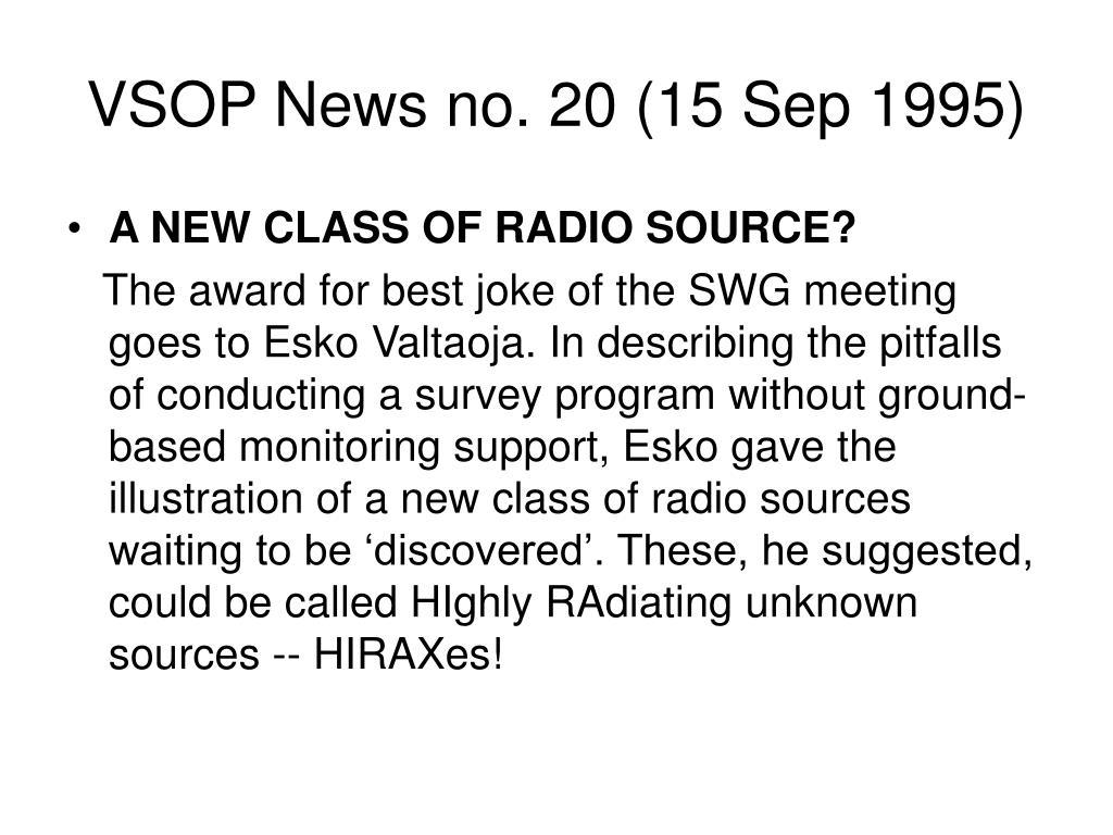 VSOP News no. 20 (15 Sep 1995)