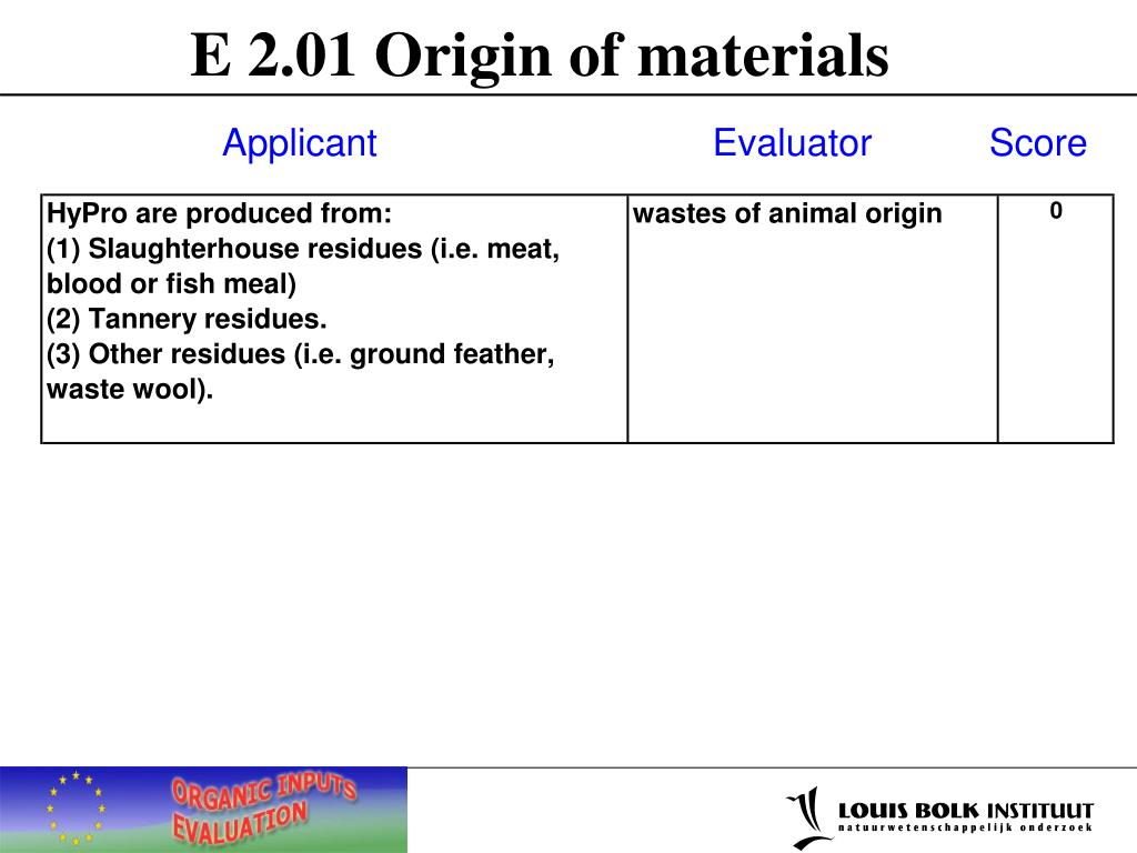 E 2.01 Origin of materials