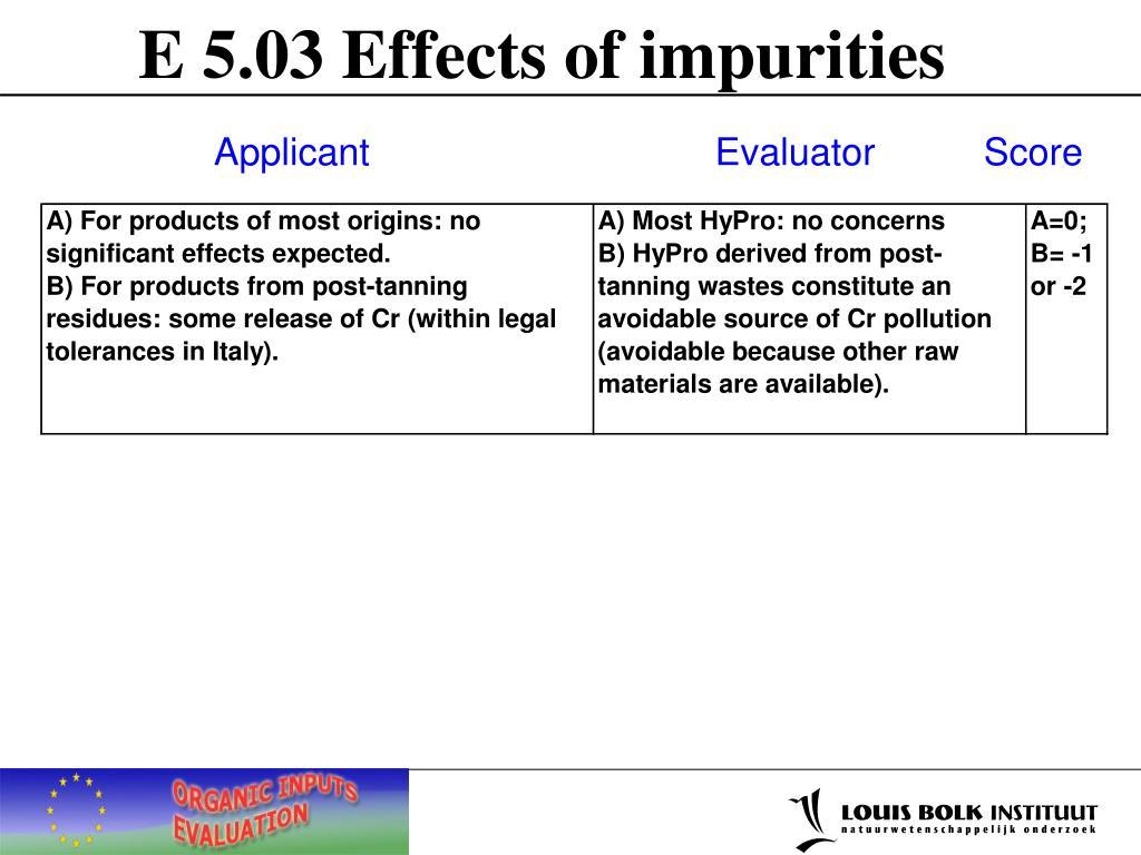 E 5.03 Effects of impurities