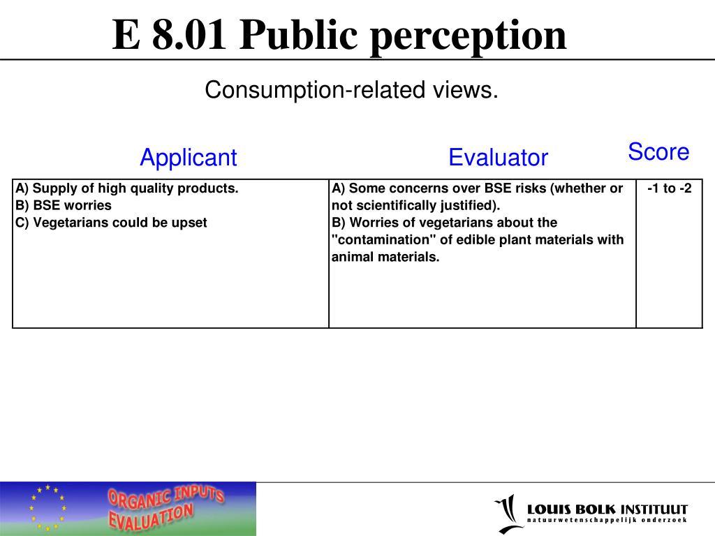 E 8.01 Public perception