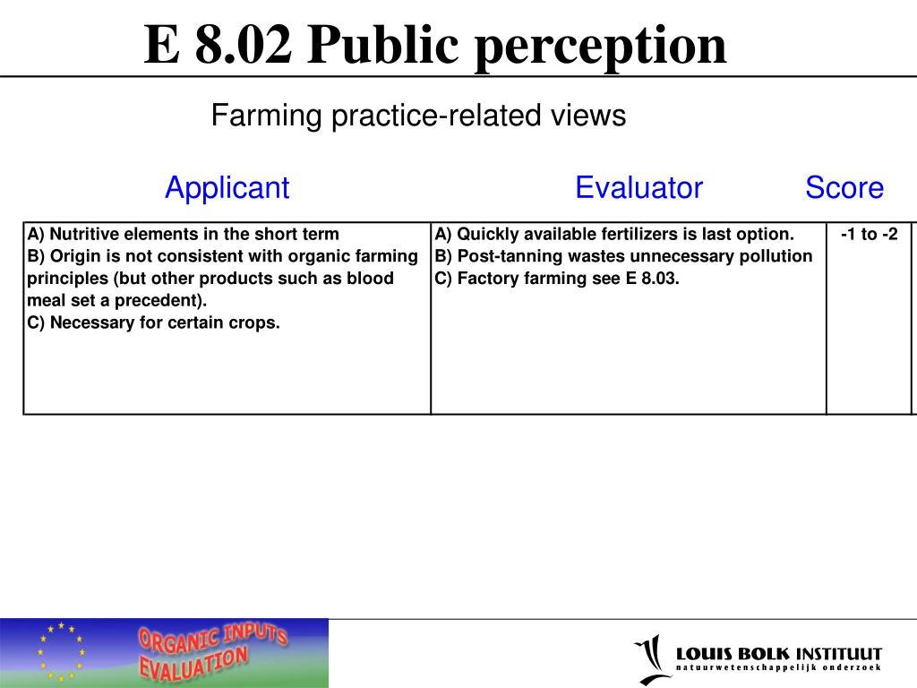 E 8.02 Public perception