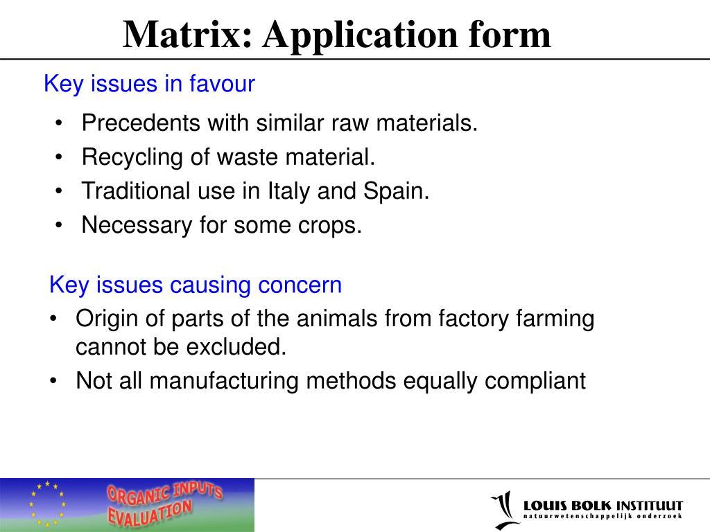 Matrix: Application form