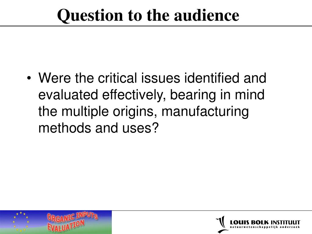 Question to the audience