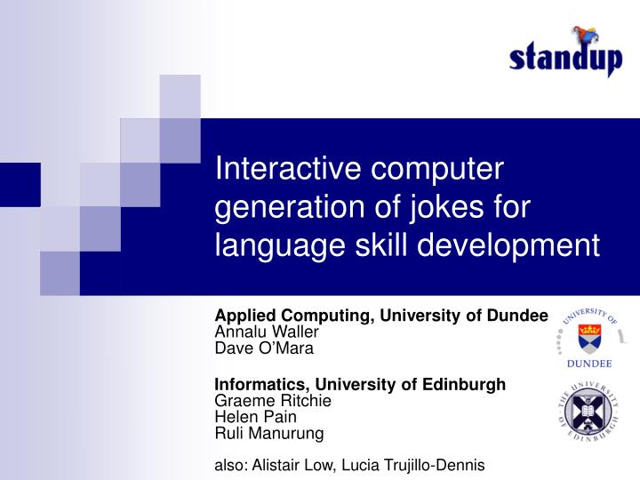 Interactive computer generation of jokes for language skill development