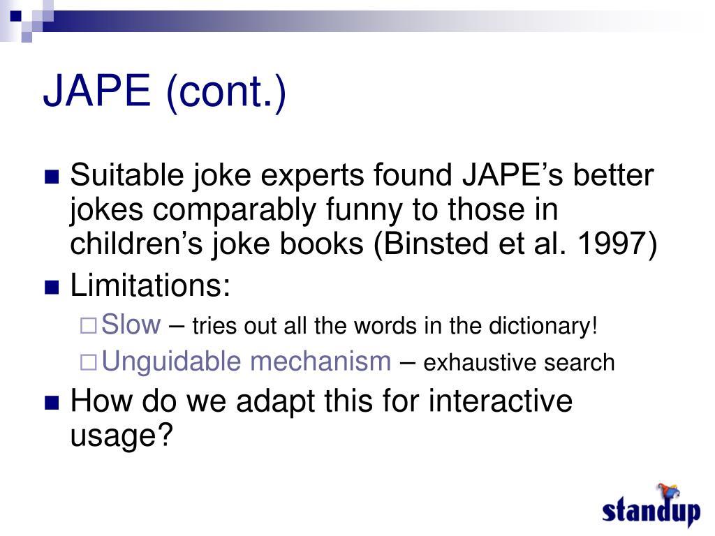 JAPE (cont.)