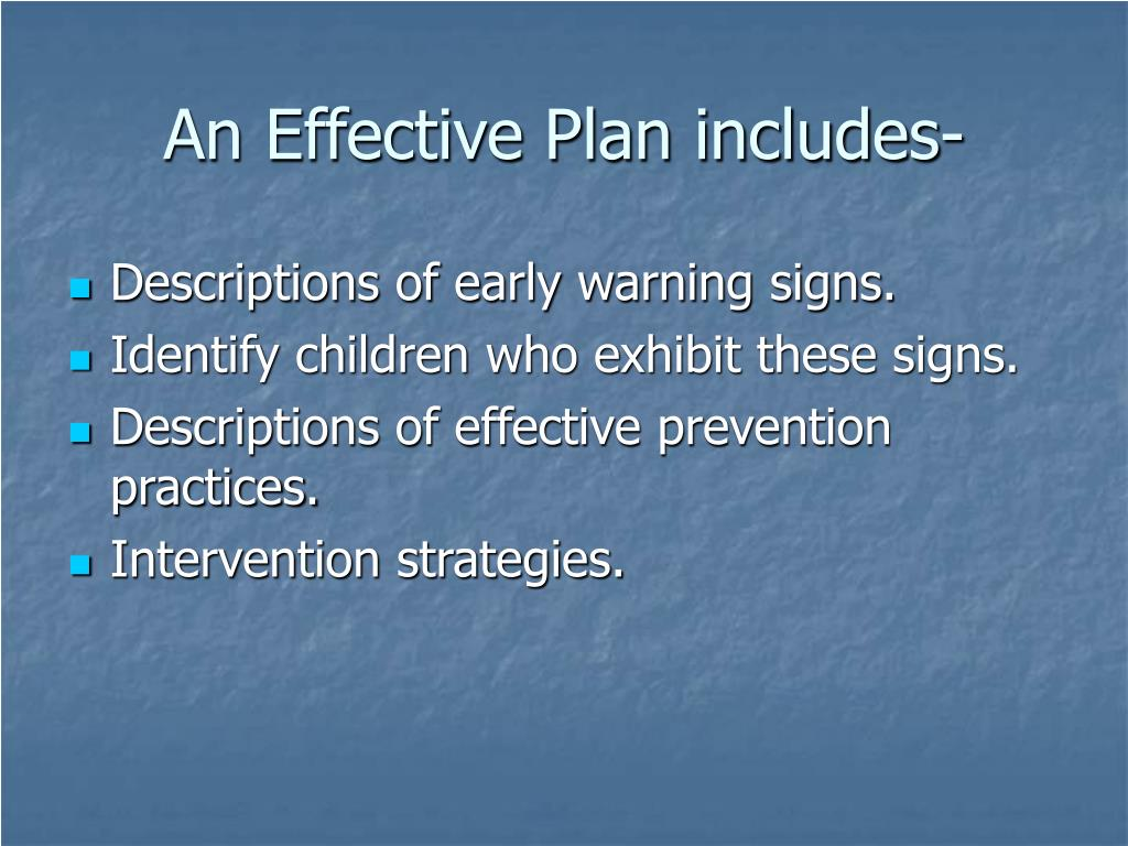 An Effective Plan includes-