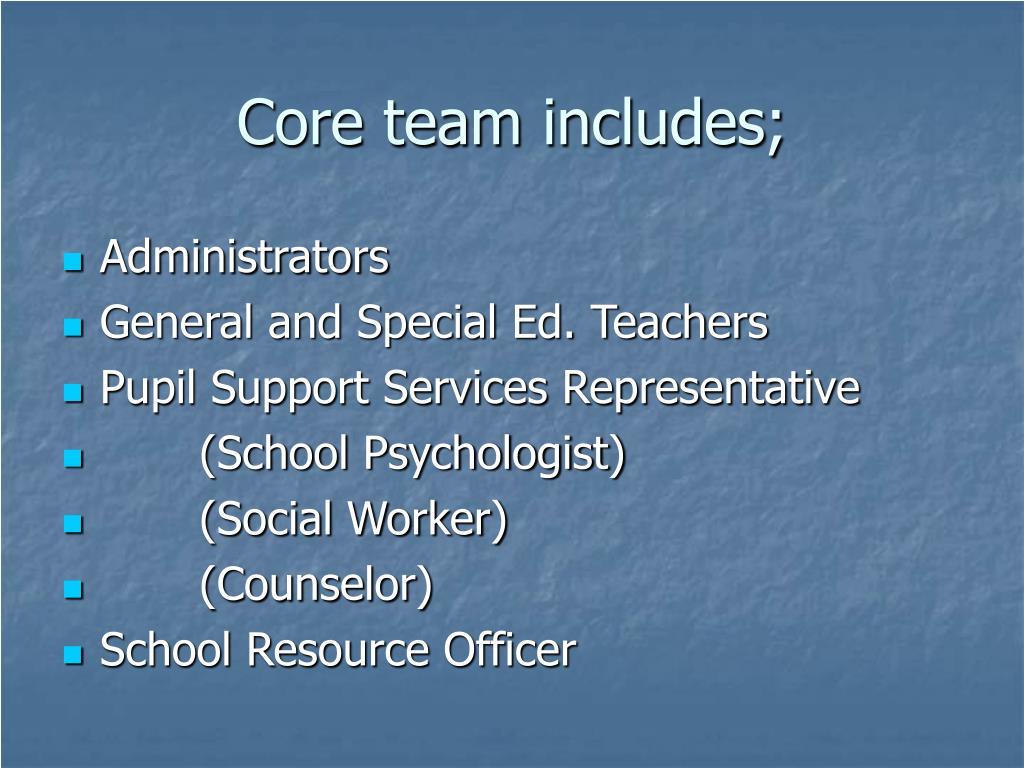 Core team includes;