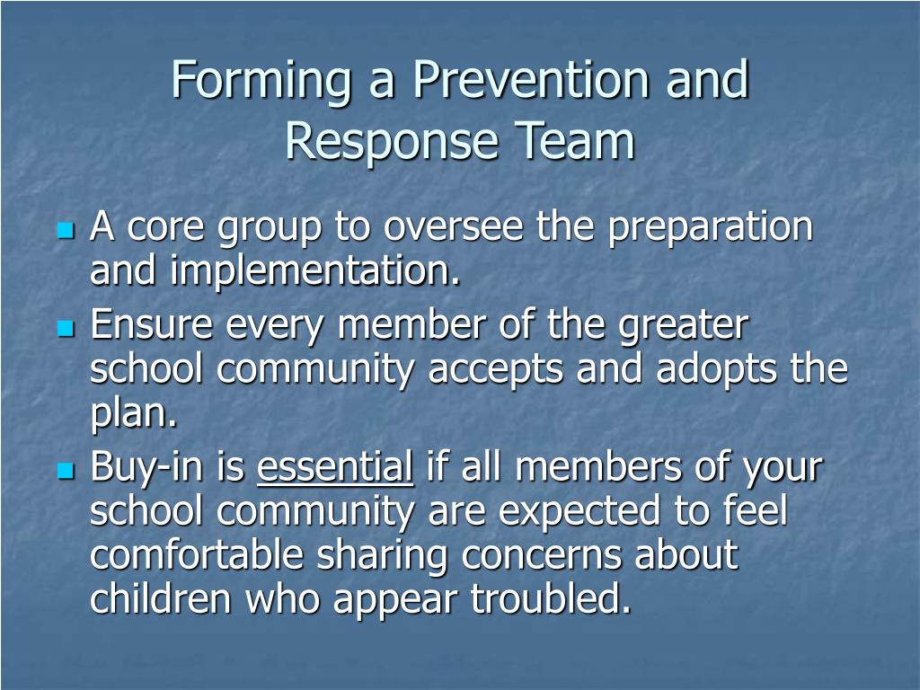 Forming a Prevention and Response Team