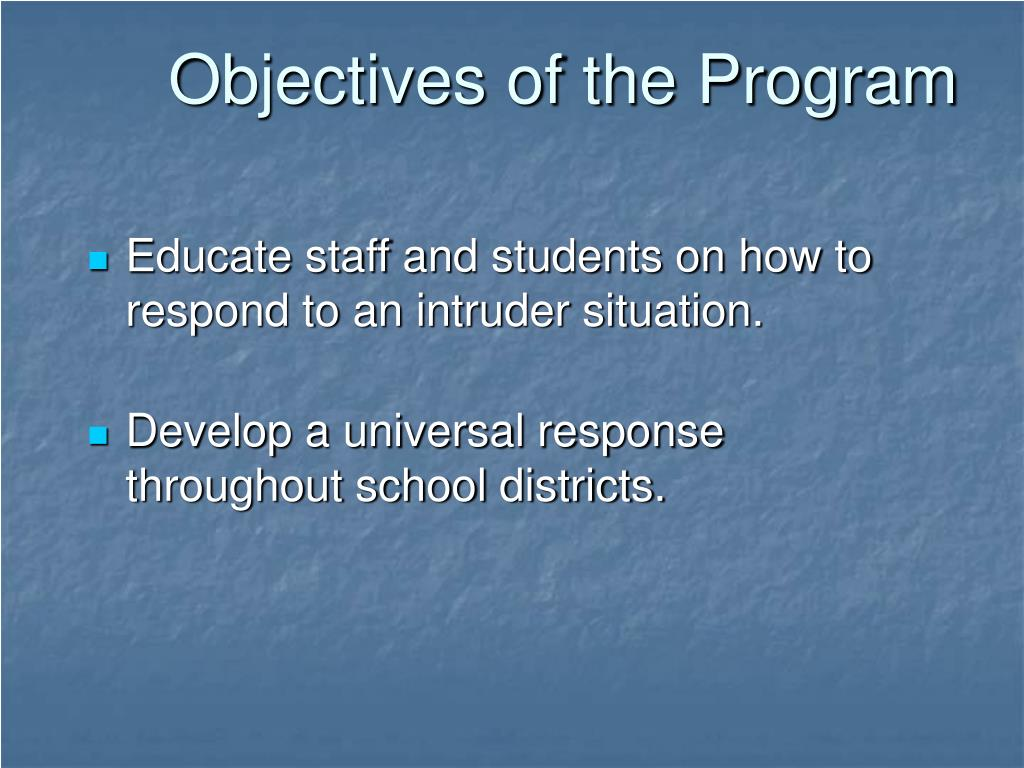 Objectives of the Program