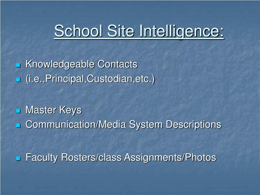 School Site Intelligence: