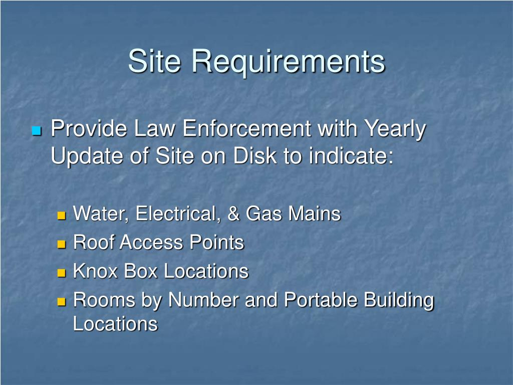 Site Requirements