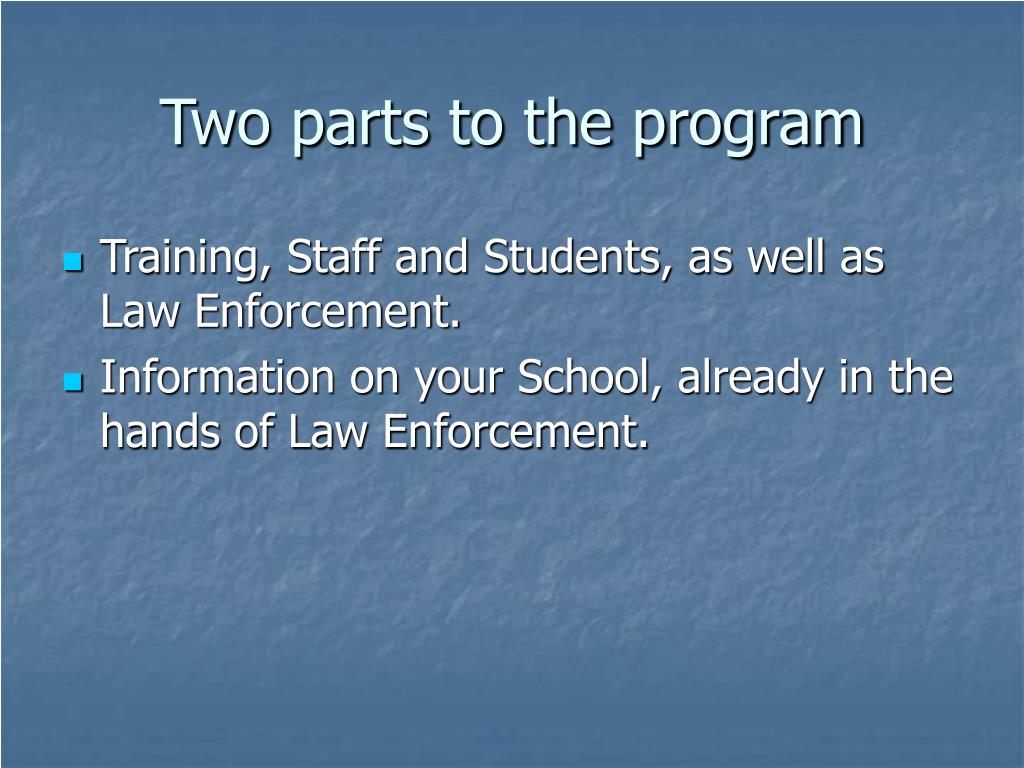 Two parts to the program