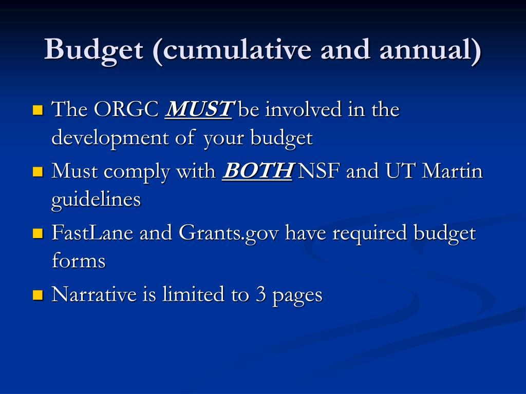 Budget (cumulative and annual)
