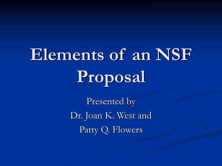 Elements of an nsf proposal l.jpg